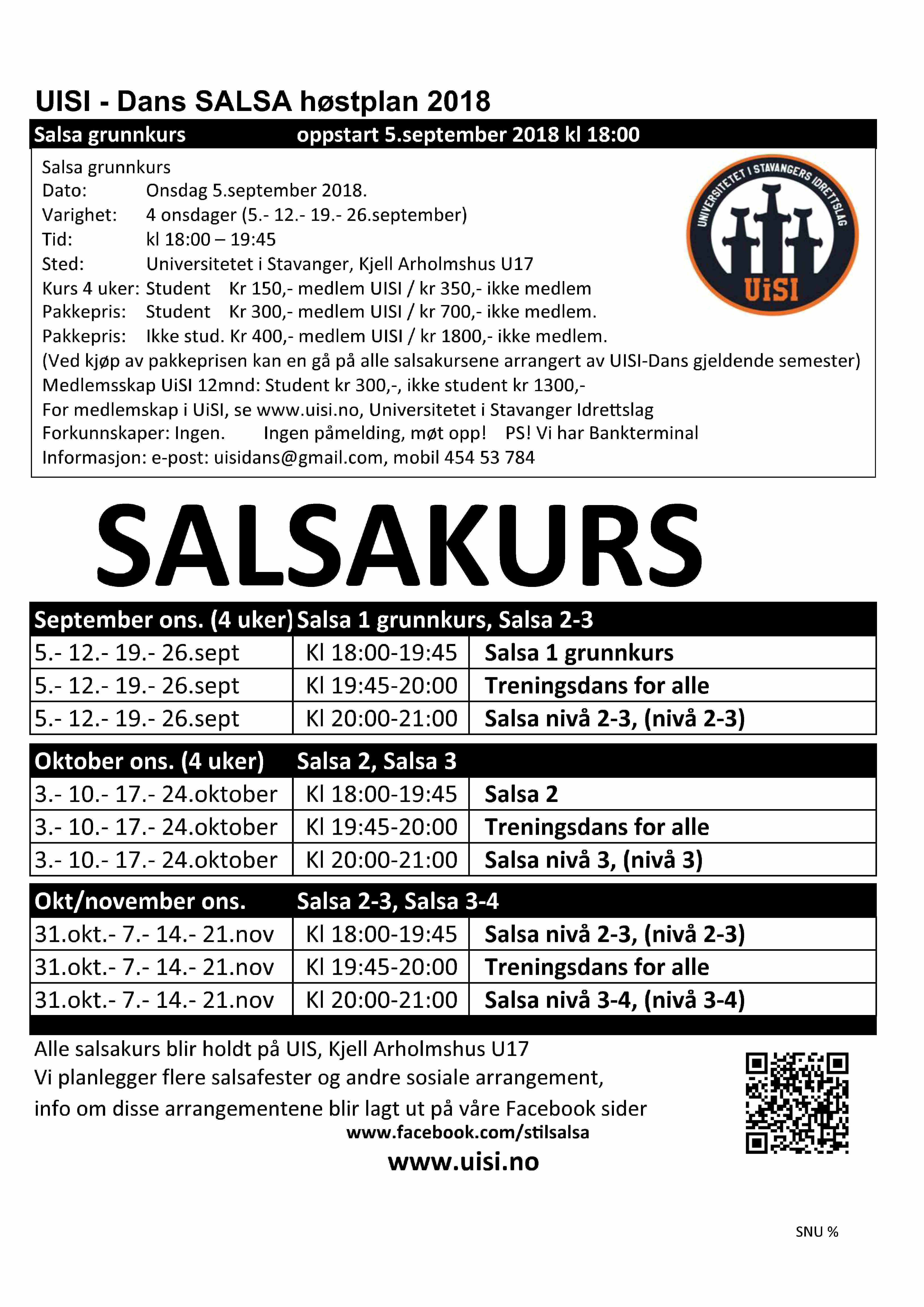 Salsa kursplan høst 2018