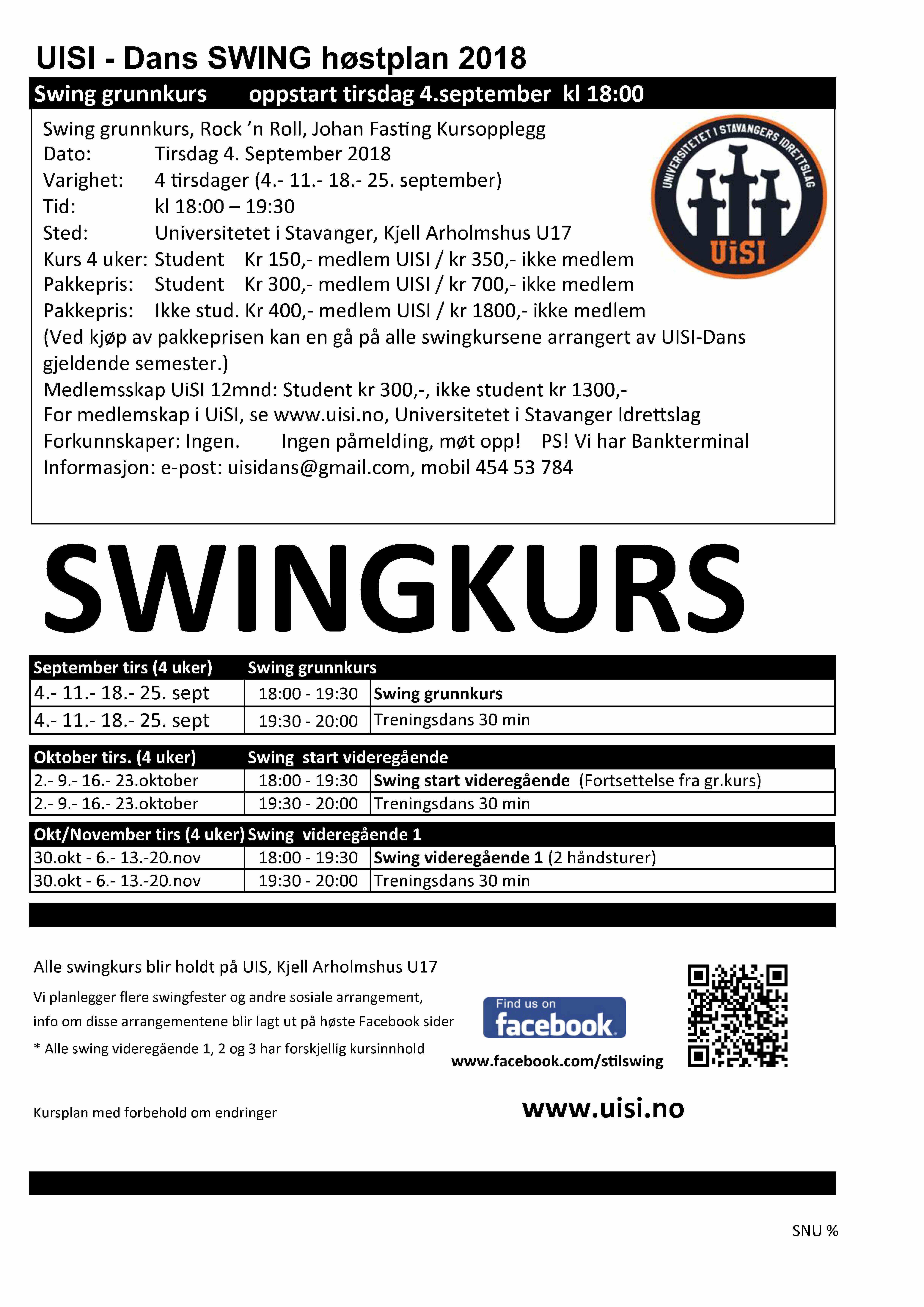 swing kursplan høst 2018